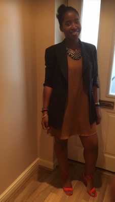 Mustard dress and black blazer