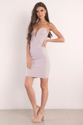 Mauve Plunge Midi Dress