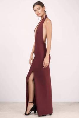 wine maxi dress
